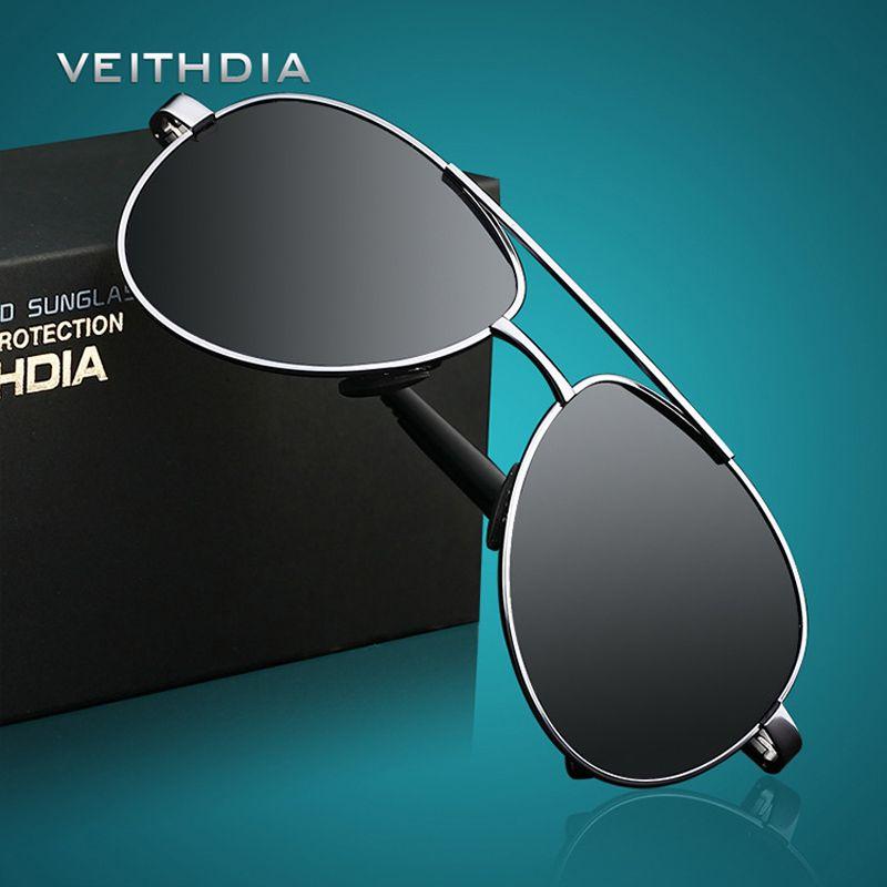 VEITHDIA Hommes lunettes de Soleil de Marque Designer Pilote Polarisées Mâle lunettes de soleil Lunettes gafas oculos de sol masculino Pour Les Hommes 1306