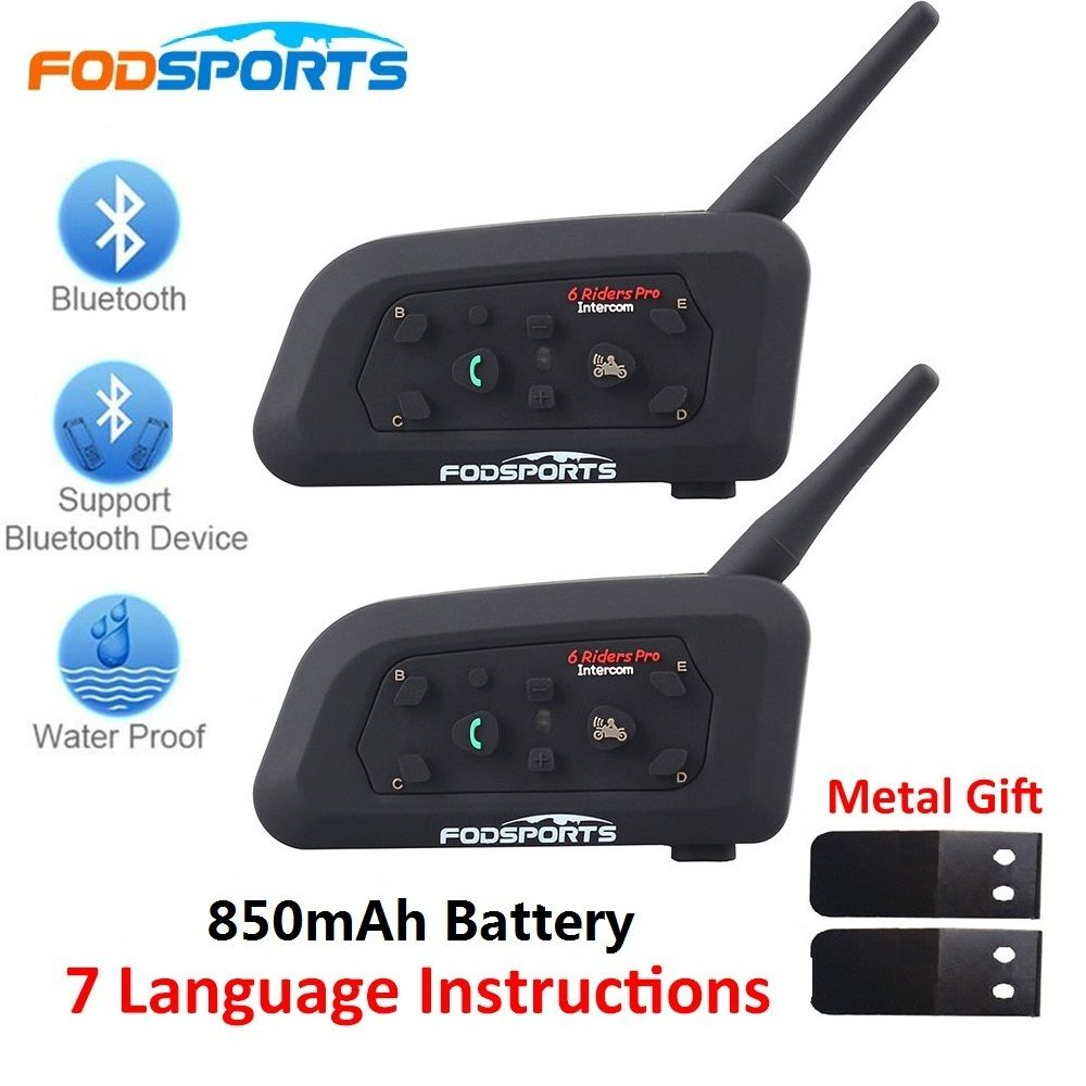 Fodsports 2 pcs V6 Pro Motorcycle Helmet Bluetooth Headset Intercom 6 Riders 1200M Wireless Intercomunicador BT Interphone