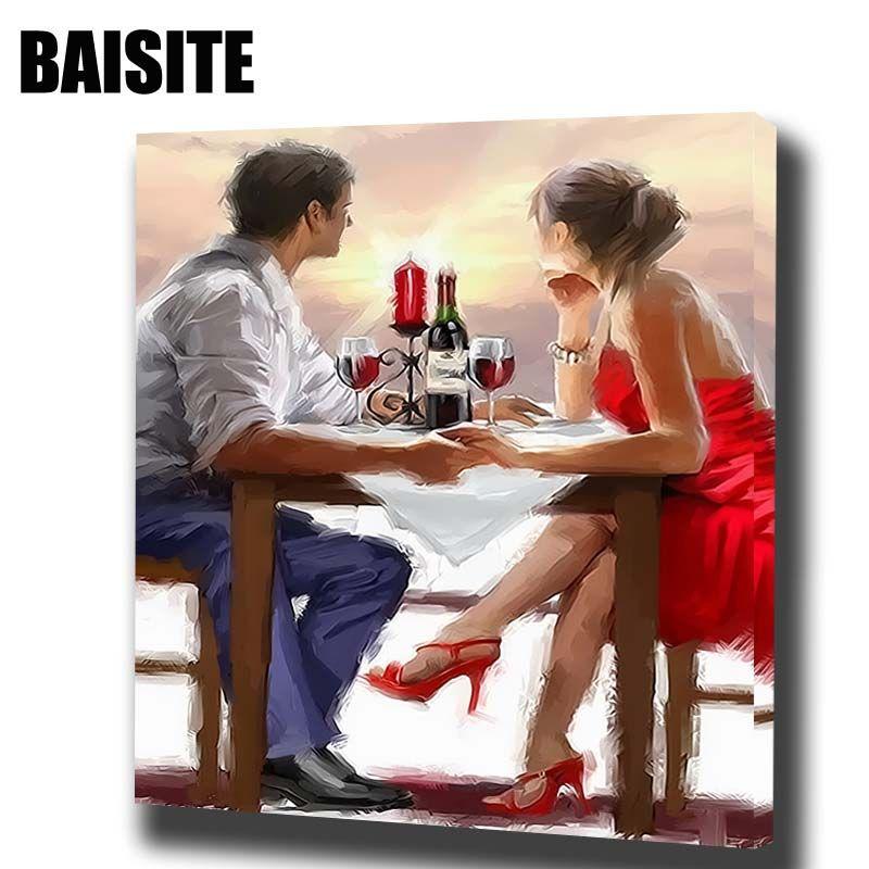 Baisite DIY обрамлении картина маслом по номерам рисунок фотографии холст картины для Гостиная стены Книги по искусству Домашний Декор H032