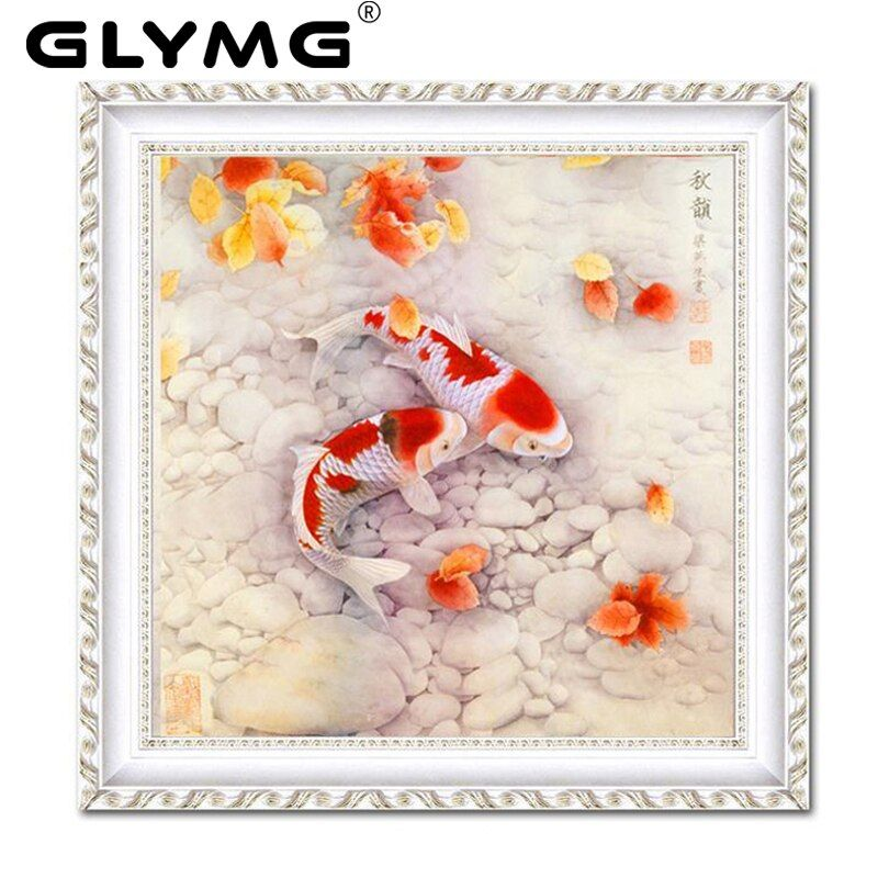 GLymg Diy Diamond Painting Cross Stitch Pisce Figure Fish Bright Diamond Embroidery Carp Crystal Round Diamond Rhinestone Animal