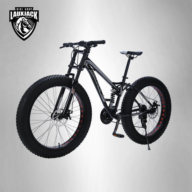 LAUXJACK Berg Fett Stahl Fahrrad Rahmen Voll Suspention 24 Geschwindigkeit Shimano Disc Bremse 26