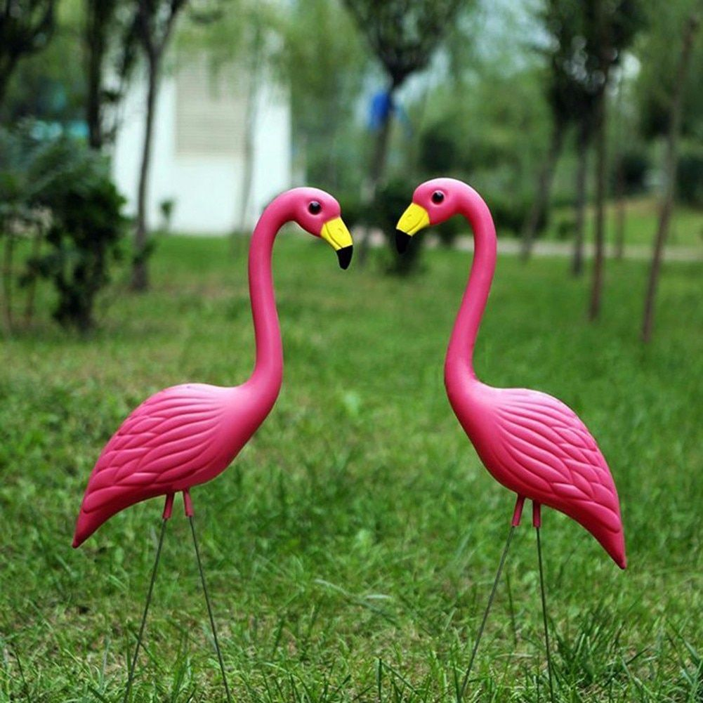 2Pcs PE Lifelike Artificial Flamingo Ornament For Home Garden Yard Lawn Art Christmas Wedding Ceremony Decoration
