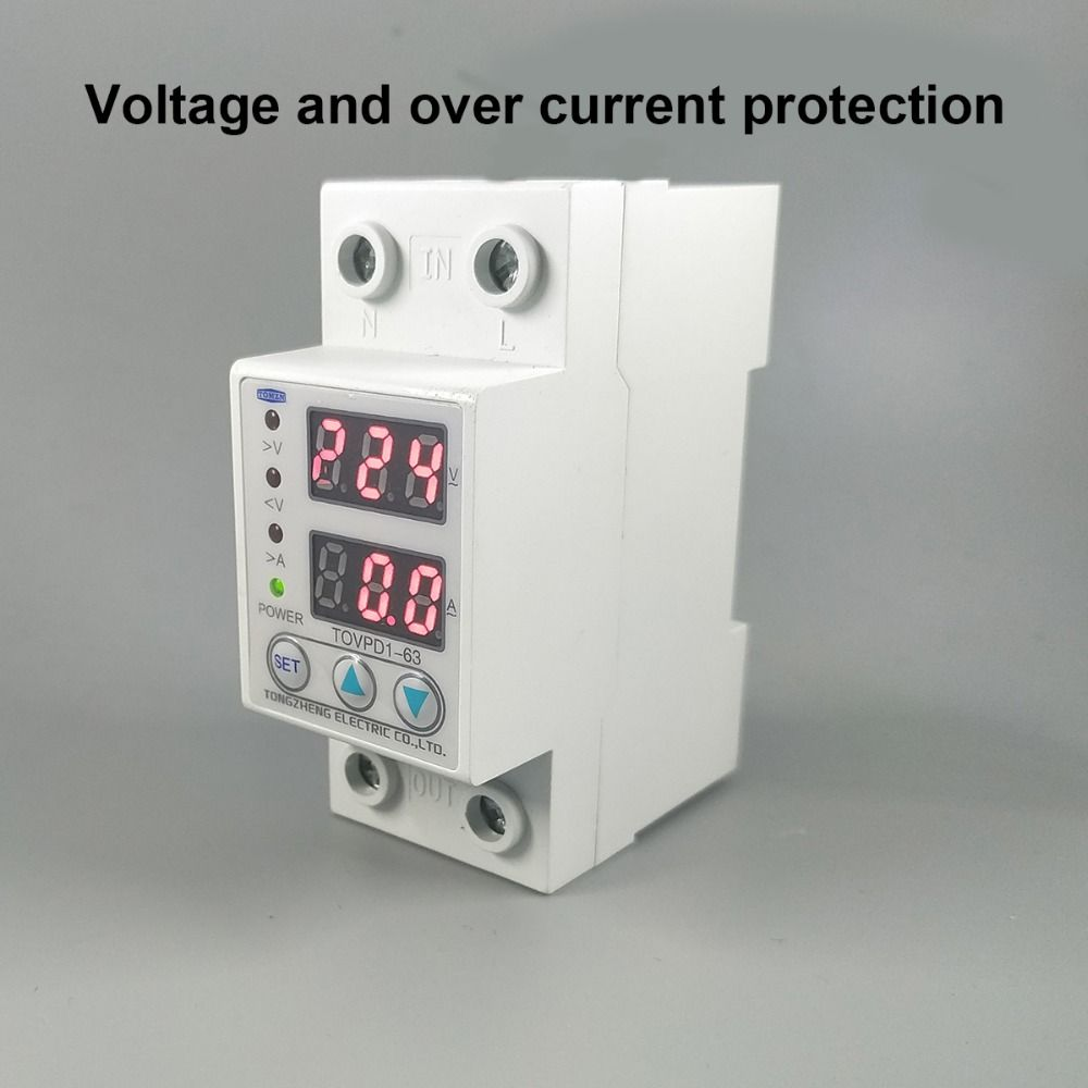 63A 230V Din rail adjustable over voltage and under voltage <font><b>protective</b></font> device protector relay with over current <font><b>protection</b></font>