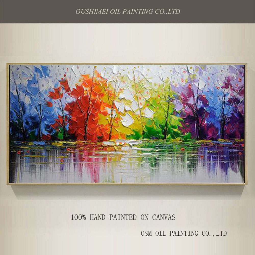 En gros haute qualité arbres abstraits peinture à l'huile sur toile à la main belles couleurs abstrait paysage arbres peintures à l'huile