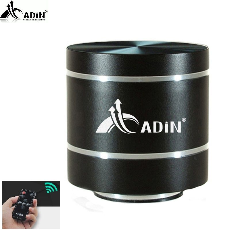 2018 ADIN HIFI Metal Vibration Speaker Mini Portable 5W Intelligent Remote Subwoofer Small Speakers TF Bass FM Radio Speakers