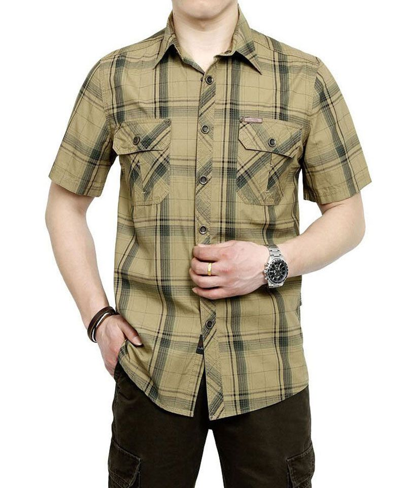 2017 M~5XL 3 COLOR 2017 New Summer Plus Size Plaid HOT SELL Casual Shirt Men Cotton Short Sleeve Shirt HOT Sale Brand CLOTHES
