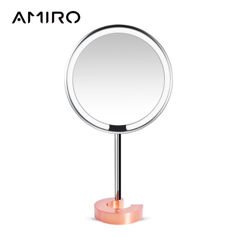 AMIRO 8 Inch LED Lighted Makeup Mirror Rechargeable Battery, On/Off Smart Sensor, Touch Bright Adjust, True Color Clarity System