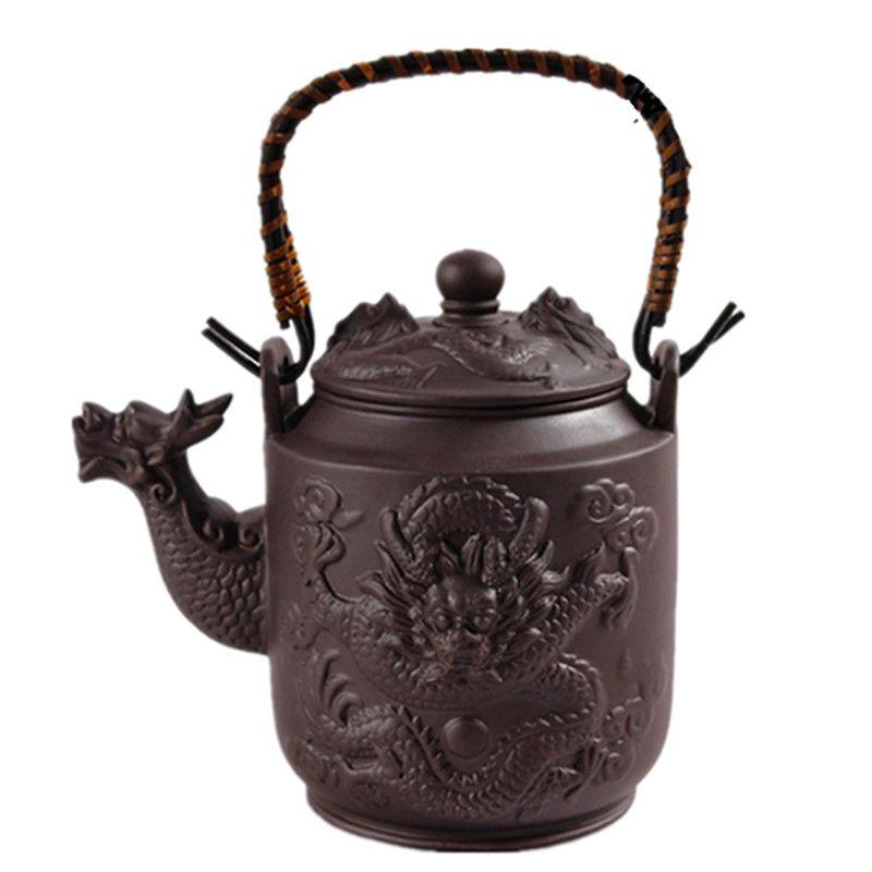 Дракон фиолетовый глины Чай горшок большой Ёмкость Zisha Чайник Кунг-фу Посуда для напитков 780 мл