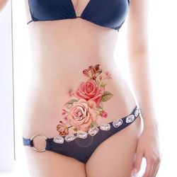 1 unid nueva moda desmontable mujeres señora 3D flores impermeable tatuaje temporal pegatinas belleza cuerpo arte desgaste fácil y fácil limpia