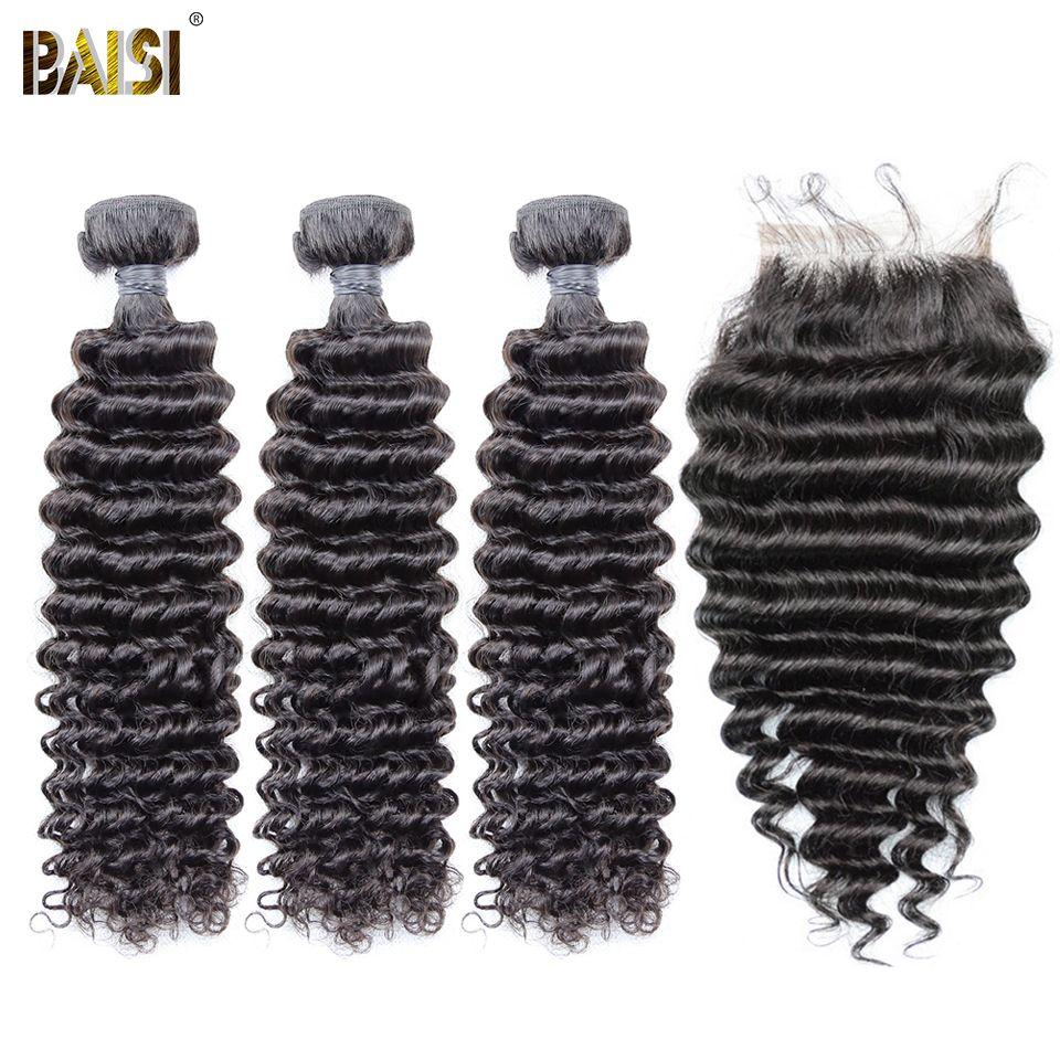 BAISI Deep Wave Brazilian Virgin Hair 8A Human Hair 3Pcs/Lot Nature Color 100% Human Hair Extensions 10-28inch, Free Shipping