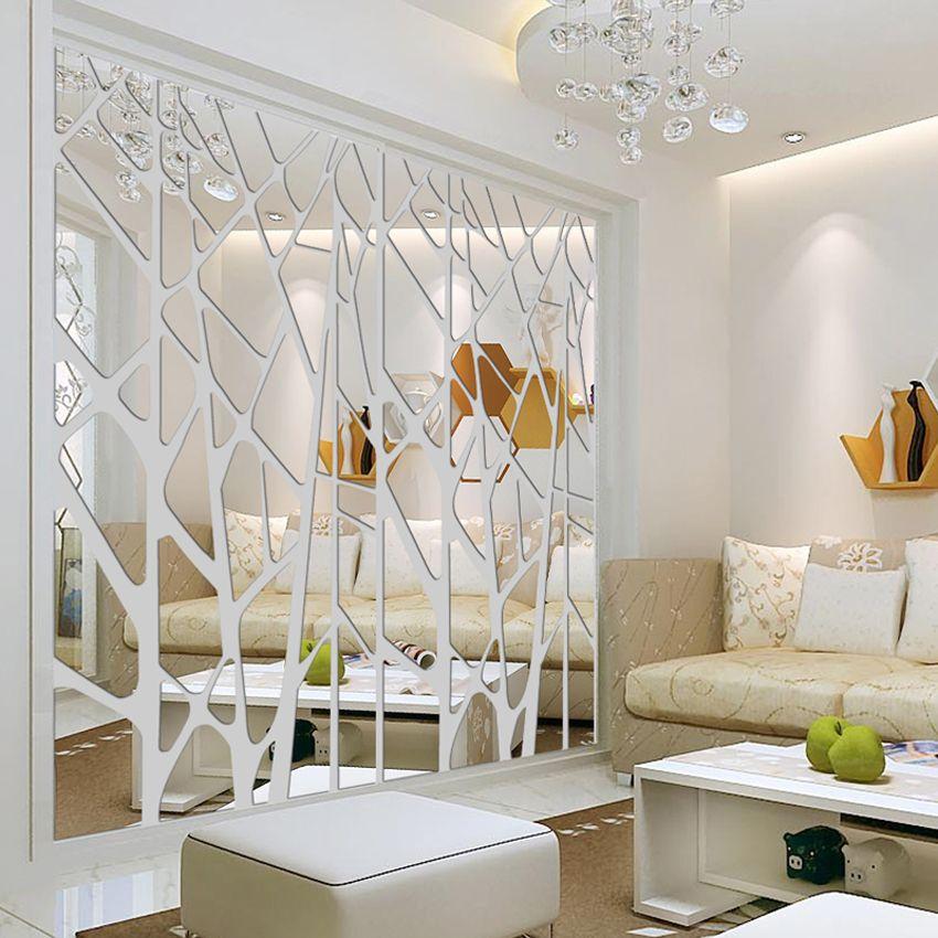 Bricolage créatif motifs géométriques miroir surface mur autocollant pour salle à manger salon décoration mur décor 3d mur décalque art