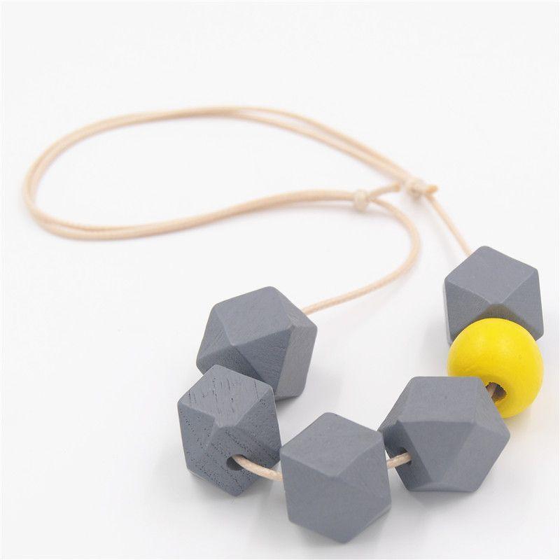 1 UNID Geométrica Collar De Madera Chunky Bola Facetada Granos De Madera Coloridos Ajustable Cuerda Gargantilla Bijoux