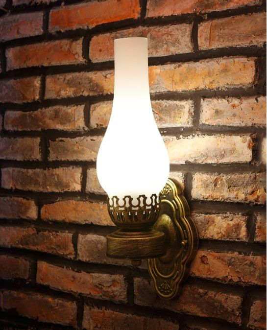 Southeast Asia style vintage design crackle glass wall lamps American rural E27 LED iron lamp for stairs&cafe&porch&aisle LDK023