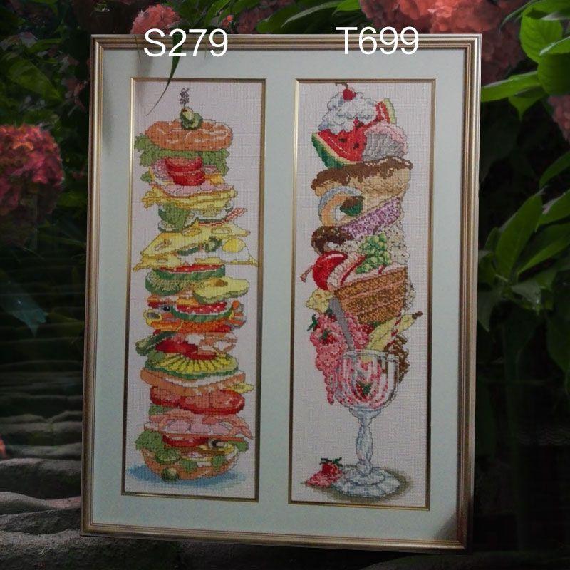 Fishxx Kit point de croix T699 S279 Super glace fruits Dessert brodé à la main Restaurant deux modèles