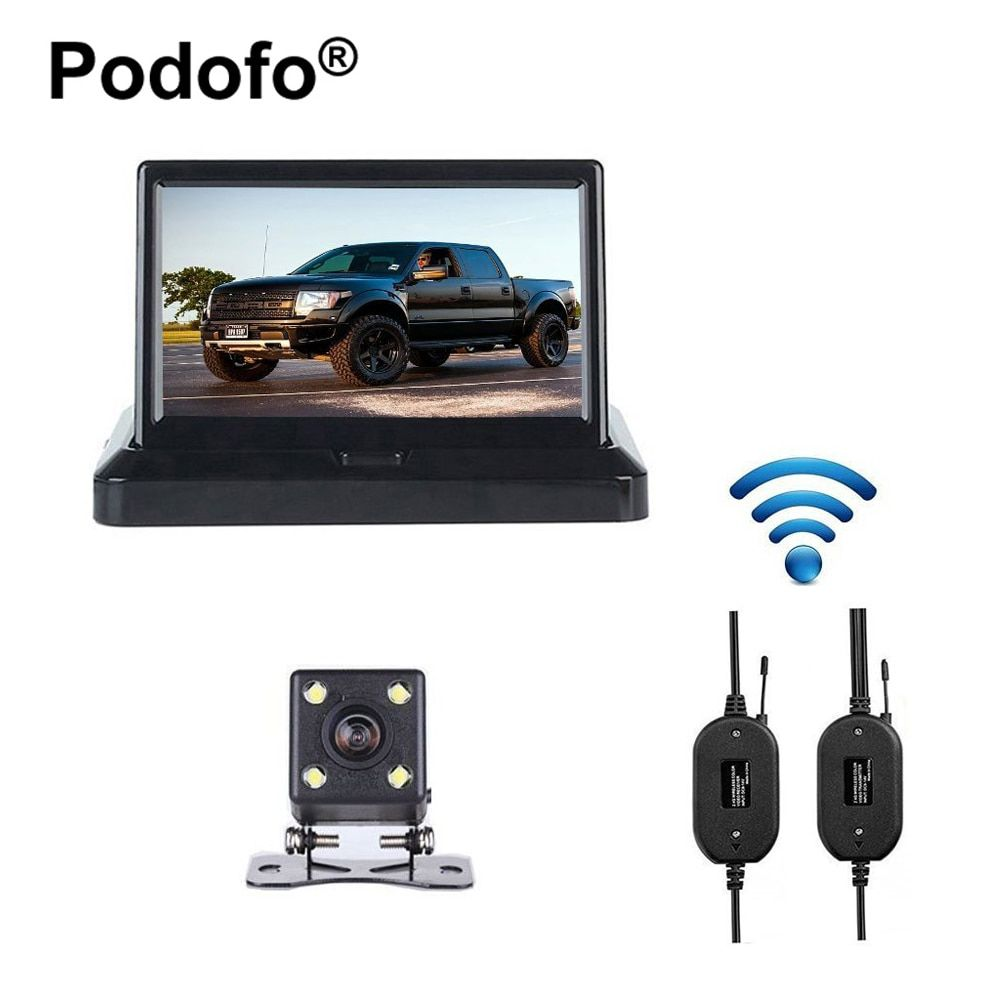 Podofo Wireless 5 Foldable Color LCD TFT Rear View Monitor with 170 Wide Angle HD Night Vision Car Rear View Backup Auto Camera