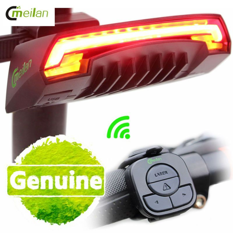 Meilan Smart Bike Light Bike <font><b>Rear</b></font> Remote Wireless Light Turn Signal LED Tail Light Laser Beam USB Chargeable Cycling