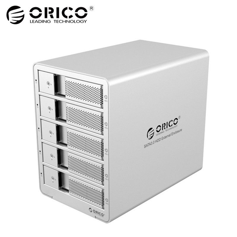 ORICO 9558U3 5-Bay 3.5 USB3.0  SATA  External Box Enclosure HDD Docking Station Case for Hard Disk Drive Laptop PC (sliver)