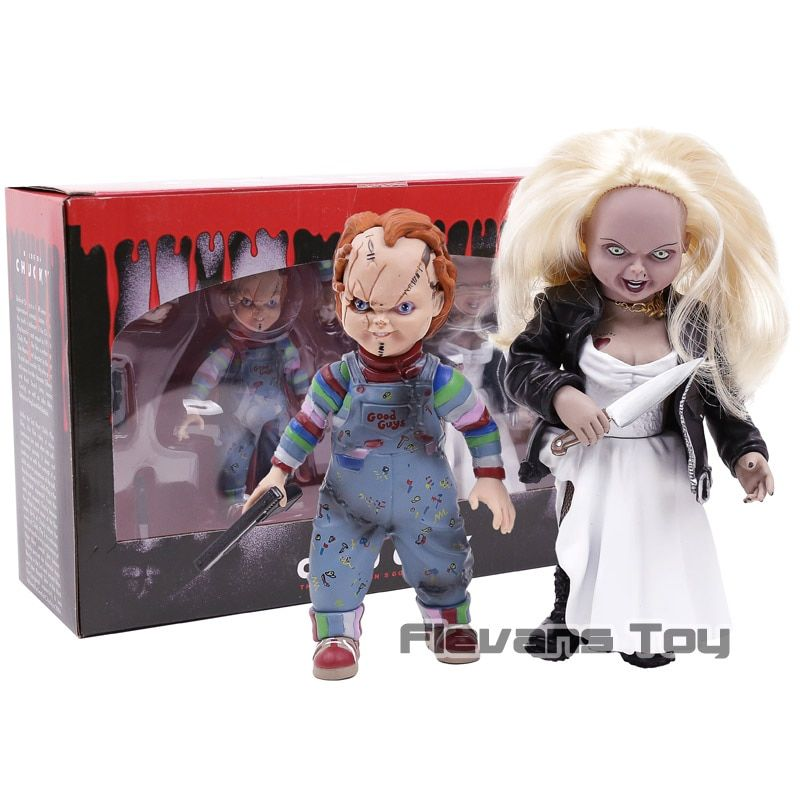 Horror Movie Bride of Chucky Chucky & Tiffany PVC Action Figure Collectible Model Toys Dolls 2pcs/set