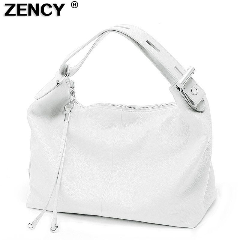 Fast Shipping 100% Genuine Leather Women's Handbag Top Handle Real Leather Ladies' Casual Tote Shoulder Bag White Gray Red Bags