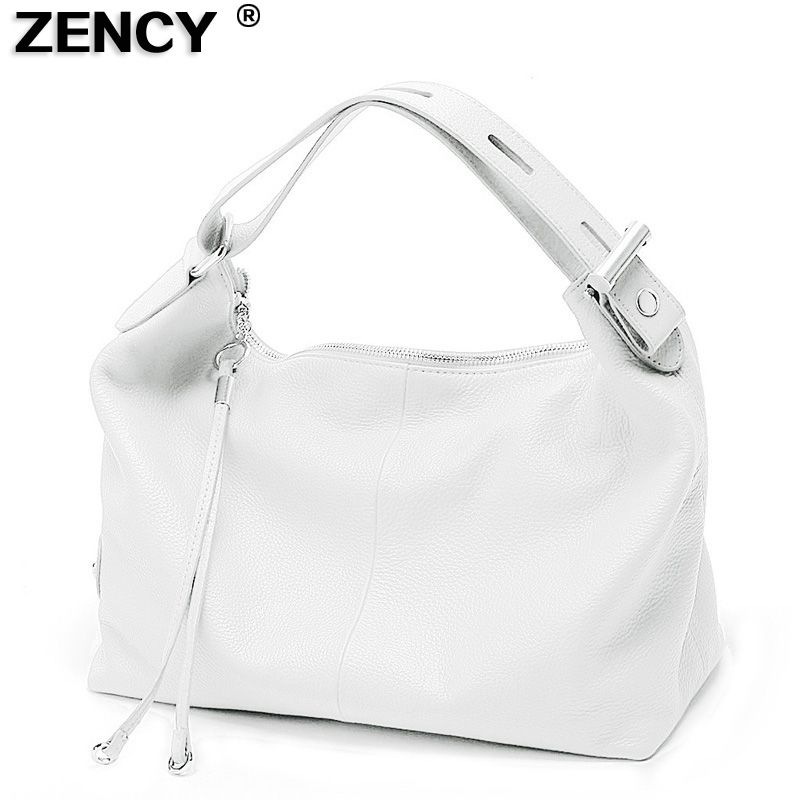 ZENCY 100% Genuine Leather Women's Handbag Top Handle Bag Real Leather Ladies' Casual Tote Shoulder White Silver Gray Red Bags