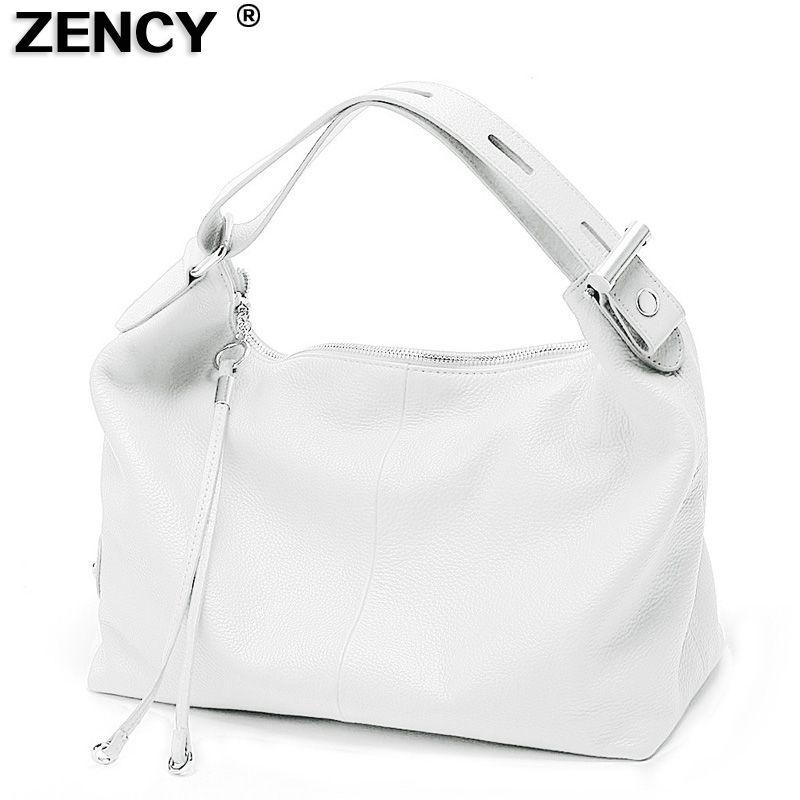 ZENCY 100% véritable cuir de vache femmes OL Style sac à main extensible Top poignée sac en peau de vache cabas décontracté pour femme argent gris blanc sacs
