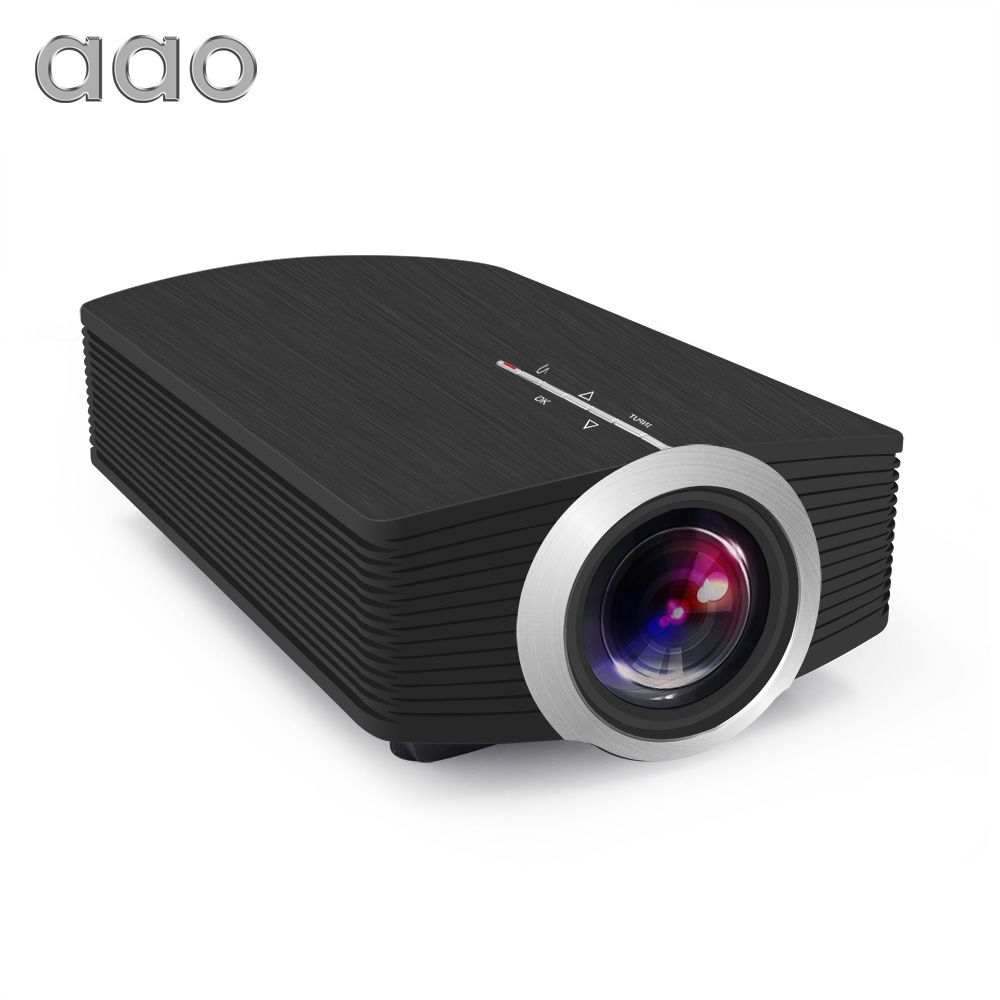 AAO YG500 Upgrade YG510 Mini Projector 1080P 1500Lumen Portable LCD LED Projector For Home Cinema Free HDMI Cable 3D Beamer Bass