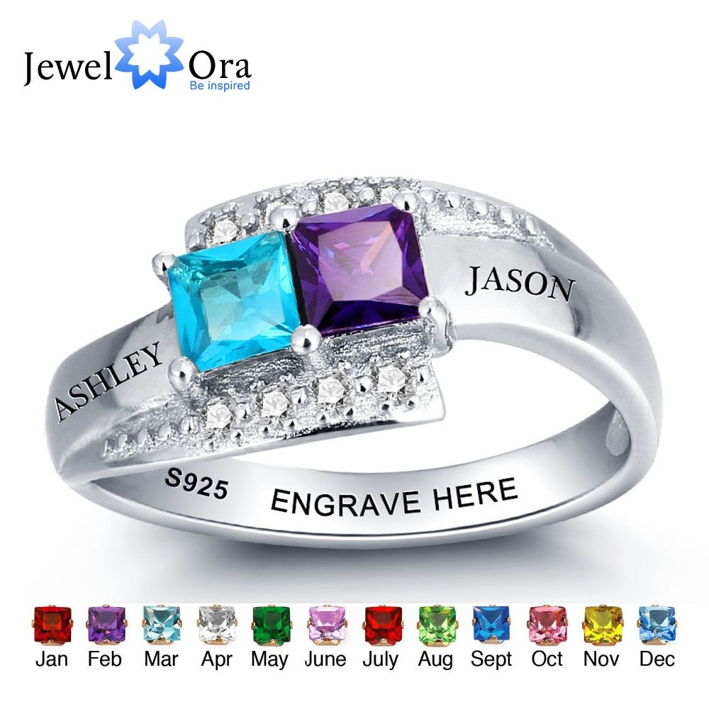 Personalized Jewelry For Couples Engrave Name Birthstone Ring 925 Sterling Silver Party Ring Unique Gift(JewelOra RI101966)