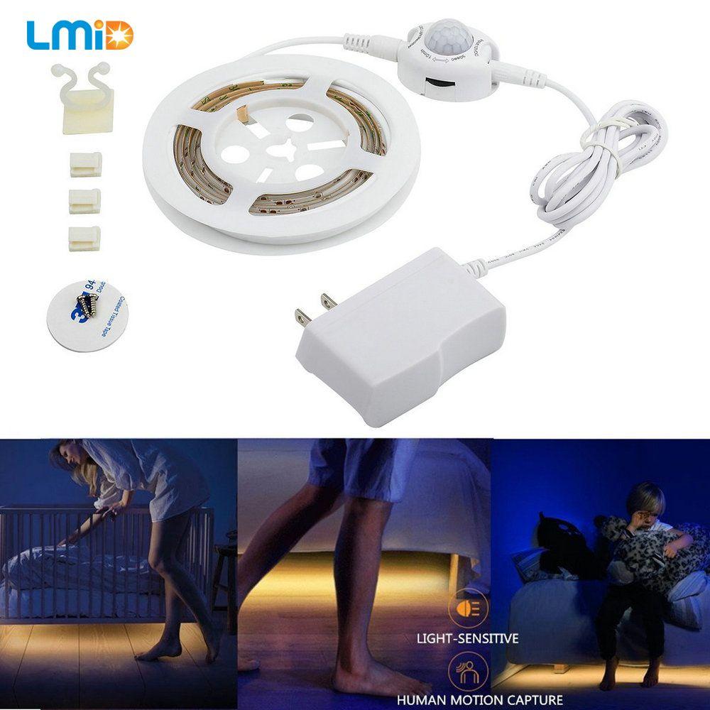 LED Night Light Strip Smart Turn ON OFF fita de led luz waterproof SMD2835 bandeau led Bedroom pir motion sensor LED Strip Light
