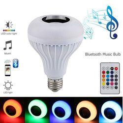 2018 Lâmpada LED E27 Lampada Luz Do Bluetooth Lâmpada RGB Lâmpada com Som Speaker Music Player de Áudio Inteligente 220 v Levou luzes para casa