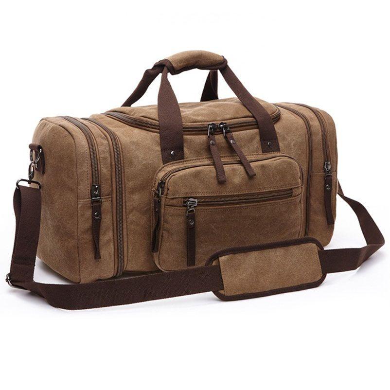 Vintage toile hommes sacs de voyage femmes week-end porter bagages et sacs loisirs sac de sport grande capacité fourre-tout affaires Bolso