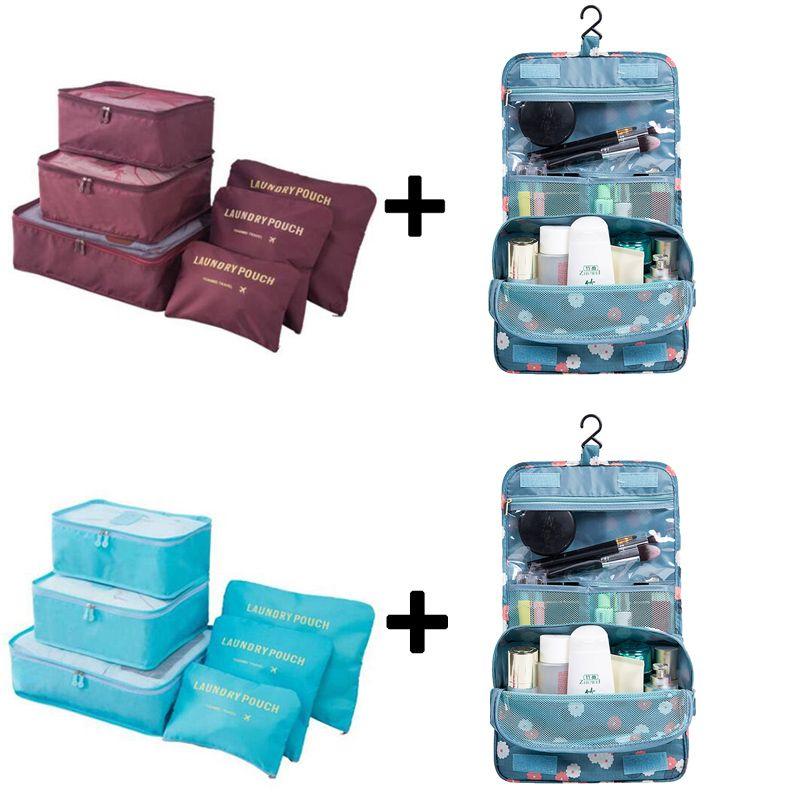 6 шт./компл. нейлон Упаковка Куб большой емкости двойная молния водонепроницаемая сумка камера одежда аккуратные Органайзер нейлона складн...