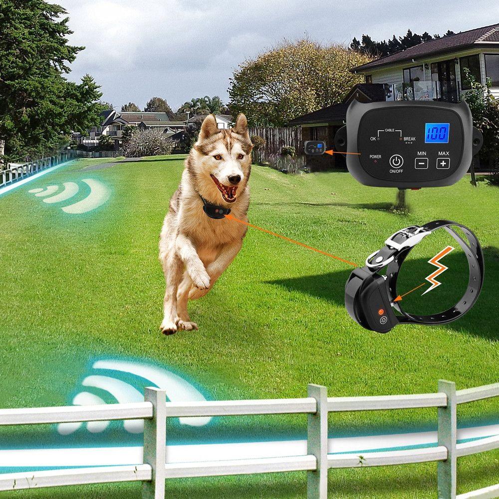 Invisible Elektronische Hundezaunsystem -- Wiederaufladbare Wasserdichte Hundehalsband Drahtlose In-Boden Zaun System Für Haustiere Hund