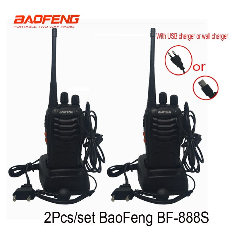 2 pcs/set Cheapest Walkie Talkie Baofeng BF-888s 5W 16CH UHF 400-470MHz BF 888S <font><b>Interphone</b></font> BaoFeng 888S Radio with USB charger