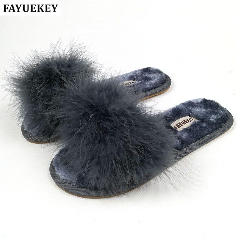 FAYUEKEY 2018 Nouveau 6 Couleurs Printemps Été Automne Hiver La Maison Coton Pantoufles En Peluche Femmes Intérieure Plancher Plat Chaussures Livraison gratuite