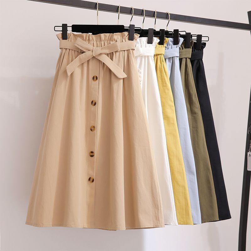 Femmes jupes mode 2019 taille haute jupe femmes printemps été Midi jupes femmes taille élastique une ligne dames jupes avec ceinture