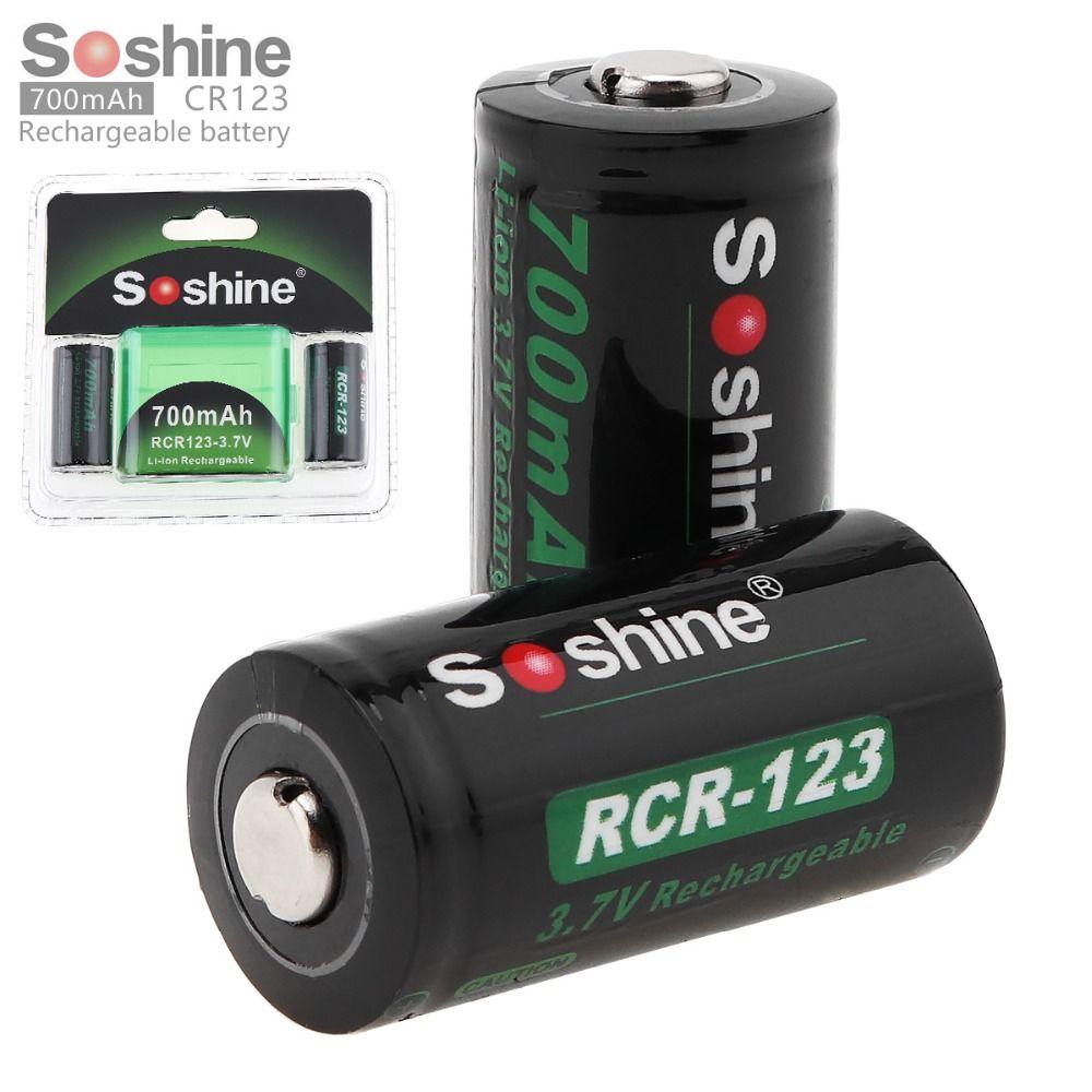 2 pièces! Soshine RCR 123 16340 700mAh 3.7V Li-ion batterie Rechargeable Batteries au Lithium avec paquet de détail + boîte de stockage de batterie