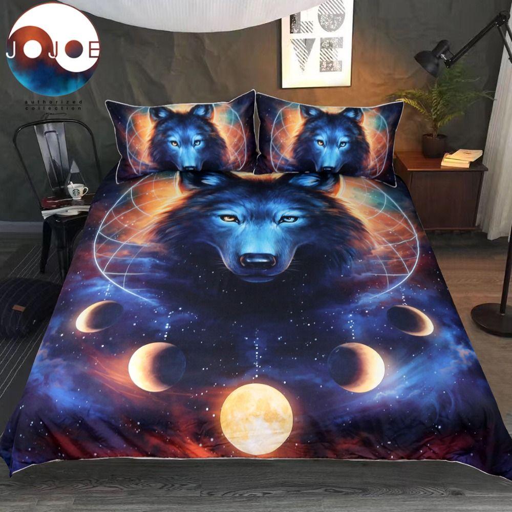 Dream Catcher by JoJoesArt Bedding Set Queen Moon Eclipse Duvet Cover Wolf Bed Set 3pcs Galaxy Print Bedclothes For Kids Adults