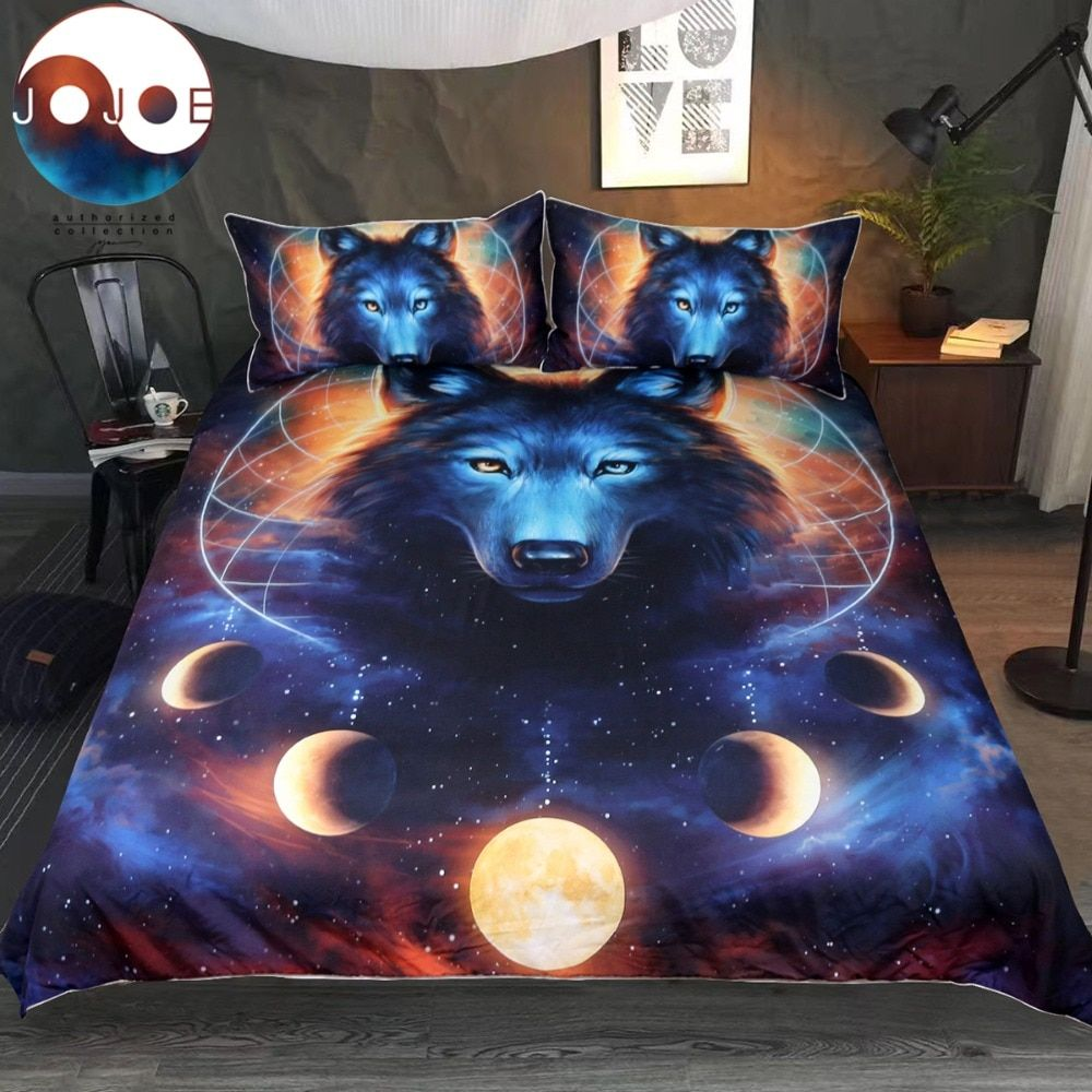Dream <font><b>Catcher</b></font> by JoJoesArt Bedding Set Queen Moon Eclipse Duvet Cover Wolf Bed Set 3pcs Galaxy Print Bedclothes For Kids Adults