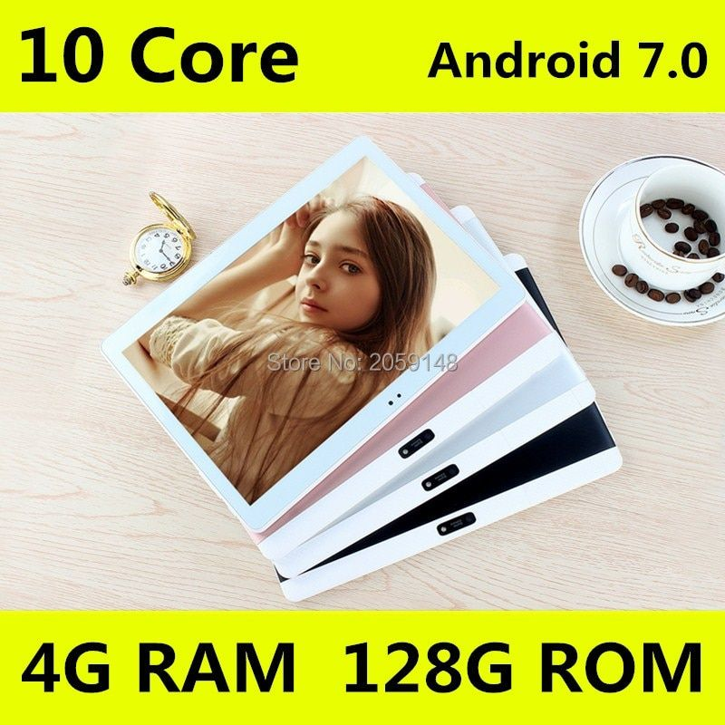 10.1 inch Original 4G Tablet Pc Phone Call Dual SIM card Android 7.0 1920x1200 Deca Core 128GB Tablets pcs  Wifi Bluetooth 10