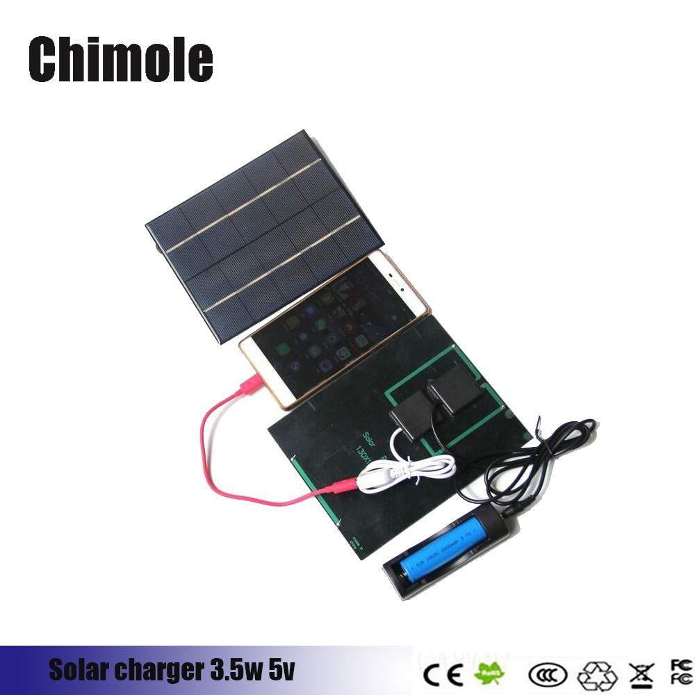 Chimole 3.5 W 5 V Panneau Solaire De Charge Pour 18650 Rechargeable Batterie + banque d'alimentation de Cellule Solaire Portable solaire chargeur pour montre Intelligente