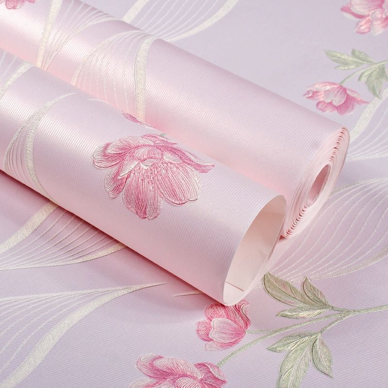 Mädchen Schlafzimmer Tapete 3D Romantische Rustikale Tapeten für Kinderzimmer Wände Vliestapete Prinzessin Rosa Beige Lila