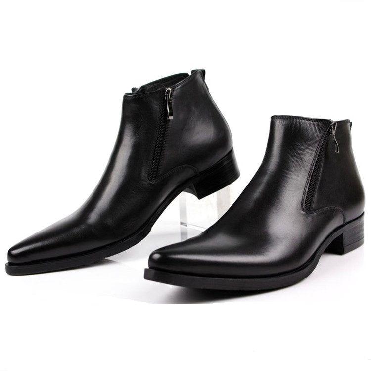 Grande taille EUR46 mode noir/sourcils tan/bleu hommes bottines chaussures habillées en cuir véritable bout pointu homme chaussures d'affaires