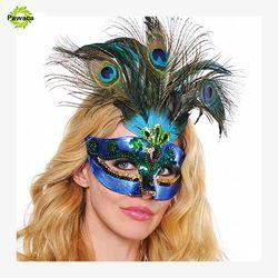 1 pcs Half Face Masker Pesta Topeng Bulu Merak Mewah Elegan Tari Pesta Cosplay Kostum Halloween Venetian Masquerade Masker
