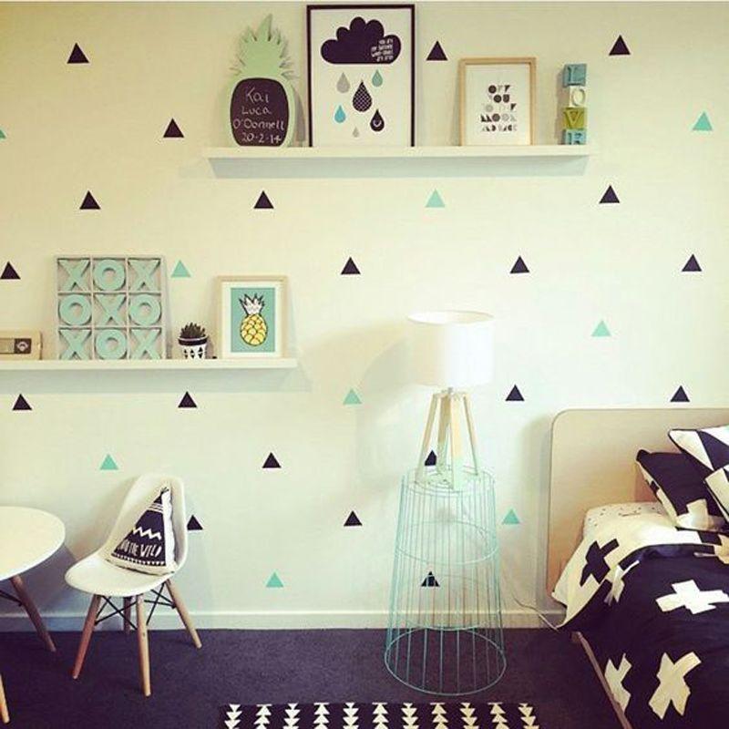 Or Triangles Wall Sticker Amovible Home Decor Art Stickers Muraux Petit Bébé Fonds D'écran Géométrique Triangle Nordique Mur Autocollants