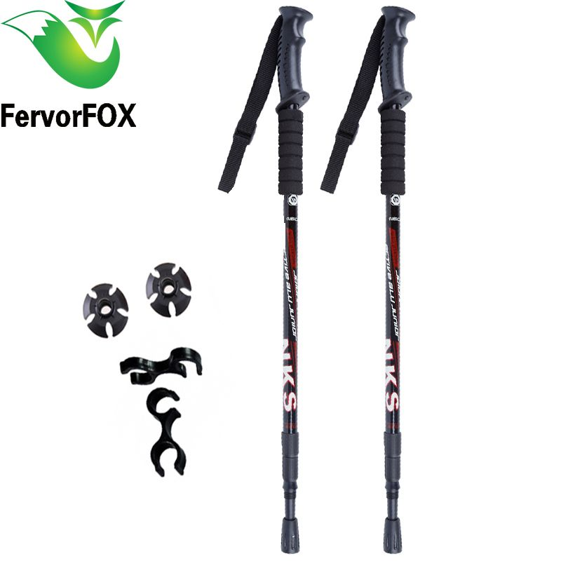 <font><b>2Pcs</b></font>/lot Anti Shock Nordic Walking Sticks Telescopic Trekking Hiking Poles Ultralight Walking Canes With Rubber Tips Protectors