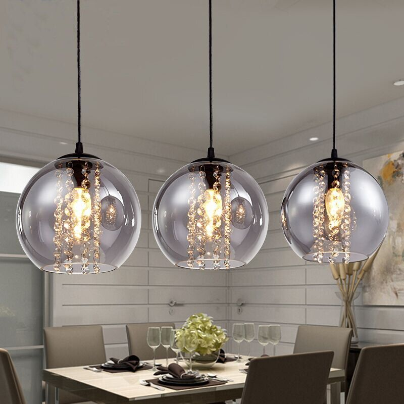modern bried dia 20cm amber glass ball pendant light fixture fashion DIY home deco living room crystal E14 LED bulb pendant lamp