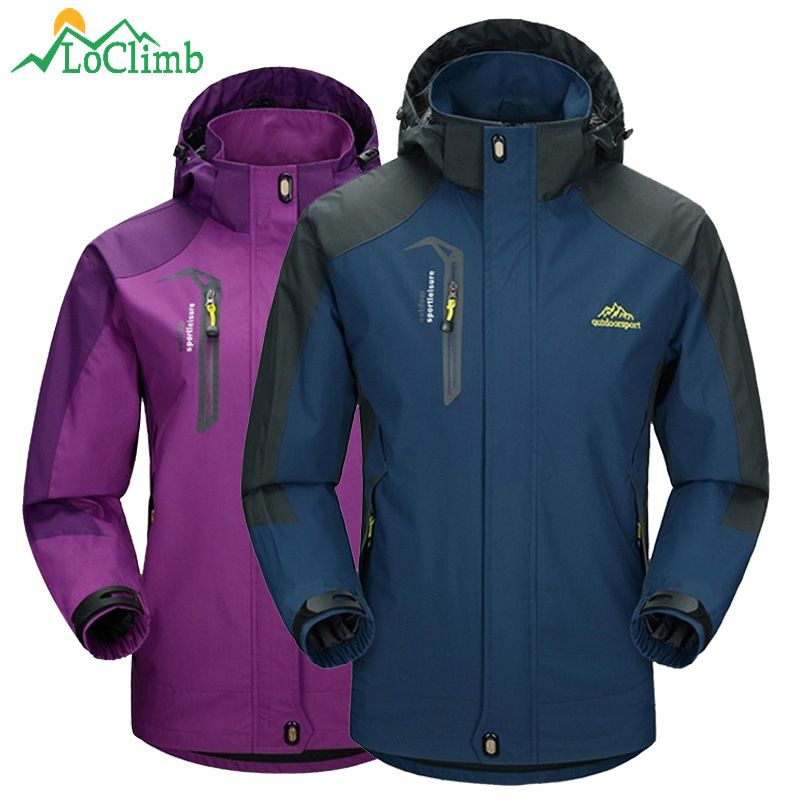 LoClimb Men Women Waterproof Camping Hiking Jacket Outdoor Climbing Windbreaker Trekking Rain Coat Clothing Sport Jackets,AM163