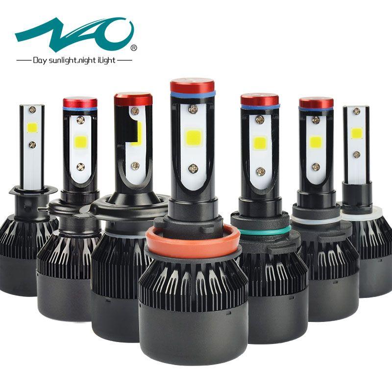 NAO H7 led Headlights H4 LED Bulb Car H11 H9 H1 H3 HB4 HB3 9005 9006 H8 H27 9004 H13 881 880 72W 8000LM 12V light White 6000K K1