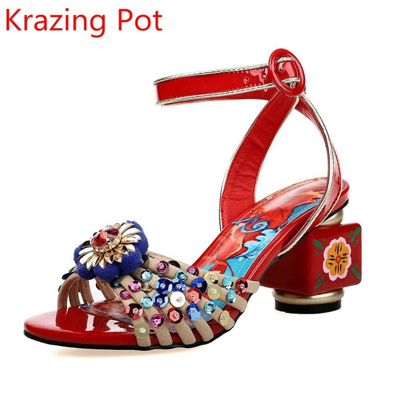 2017 Fashion Superstar Brand Shoes Flower Buckle Ankle Strap Beading Crystal Print Women Sandals Genuine Leather Luxury Shoe L80