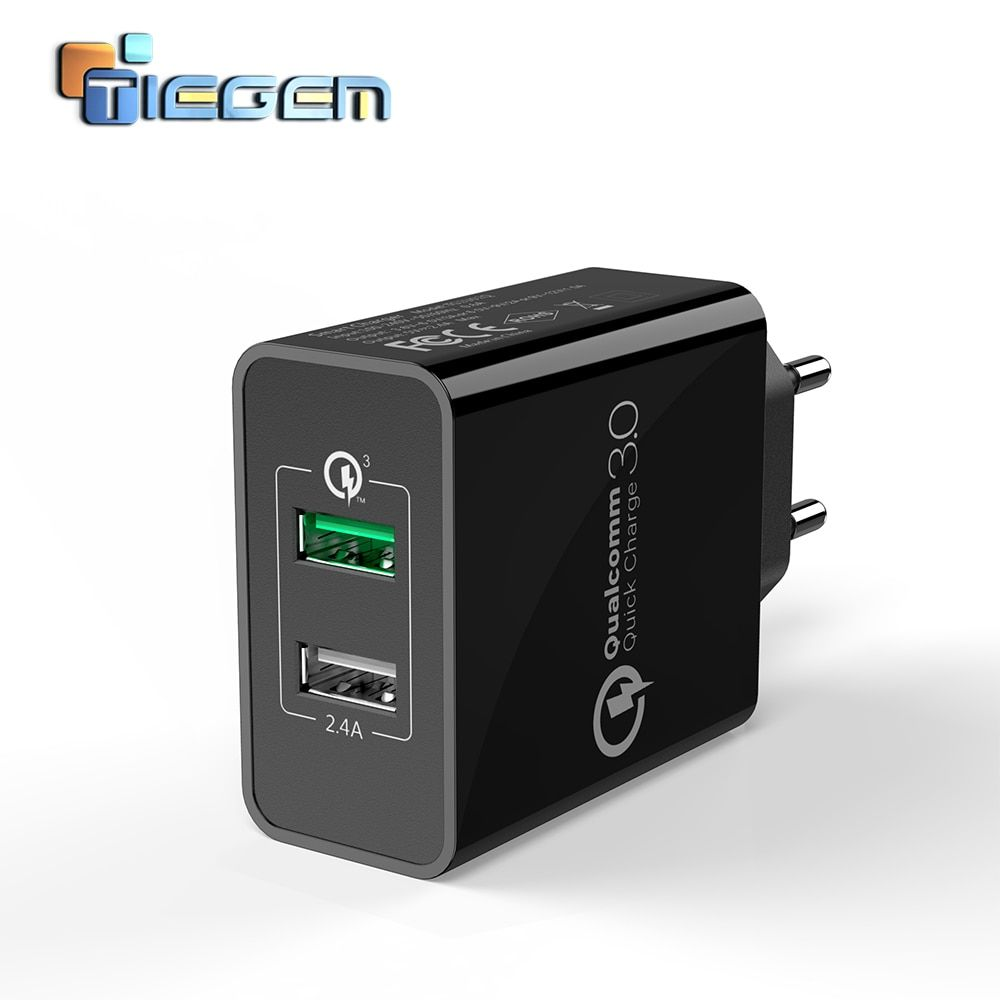 TIEGEM 30W Fast Quick Charge 3.0+2.4A Dual USB <font><b>Universal</b></font> Mobile Phone Charger Portable EU US Plug for Samsung Huawei Xiaomi LG